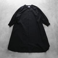 綿ウールタイプライタークロスバルーンスリーブワンピース(ブラック)【レディス】U212