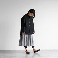 タイプライタークロスバンドカラーオーバーシャツ(ブラック)【ユニセックス】015