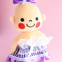 じょちりょくアップドレス(ぷんちゃんぬいぐるみ用)紫ボーダー