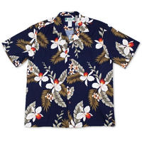 Two Palms / Hawaiian Shirt Orchid - NAVY