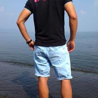17SURF ラインポロ ブラック×ホットピンク