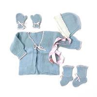 60s crochet cardigan&hat&mittens&booties set (dead stock)
