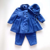 70s blue coat&pants&hat set