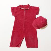 corduroy romper&cap outfit
