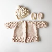 60's hand knit Pom Pom jacket hat & mittens