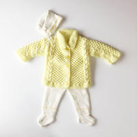 yellow knit cardigan & pants & hat set