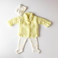 yellow knit cardigan & pants & hat set