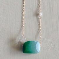 グリーンアゲード&水晶ネックレス