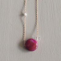 ピンクアゲード&水晶ネックレス