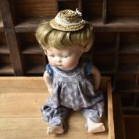 アンティークレースと布花の麦わら帽子