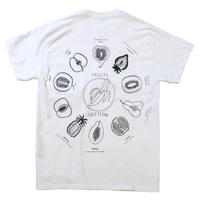 "SHUNTAROU TAKEUCHI × RYUHEI KOBOSHI / ""Fruits"" S/S tee - white body back print"
