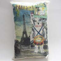 ☆正規輸入☆インポート雑貨【Natalie Lete】犬とエッフェルタワーのクッション(パリ)☆デコレーション Paris French Bulldog Cushion