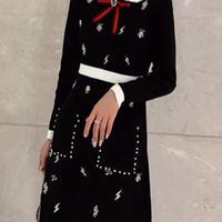 刺繍ニットワンピース♡ブラック