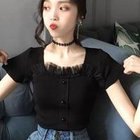 胸元チュールニット♡ブラック