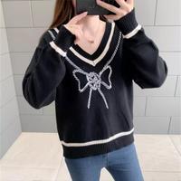 ロープリボン刺繍ニット♡ブラック