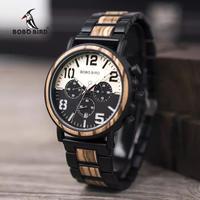 BOBO BIRD 海外人気ブランド 腕時計 クロノグラフ ストップウォッチ 木製 ステンレス おしゃれ バイカラー