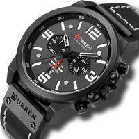 メンズ腕時計 クォーツ腕時計 防水 クロノグラフ CURREN カジュアル ビジネス ブラック 人気