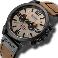 メンズ腕時計 クォーツ腕時計 防水 クロノグラフ CURREN カジュアル ビジネス ブラウン 人気