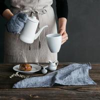 リトアニアリネンのキッチンクロス  フィルブルー