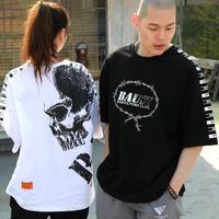 『BAUST』  ラベルモチーフスカルショートスリーブ Tシャツ (Black)