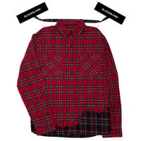 『BLACKBLOND』レイヤードチェックシャツ (Red)