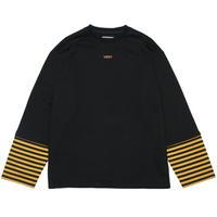 『Verynineflux』   ストライプレイヤードTシャツ (Black)