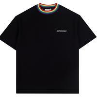 『Motivestreet』 レインボーネックポイントTシャツ  (Black)