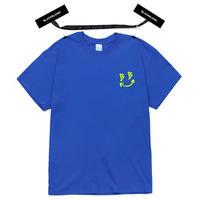 『BLACKBLOND』  スマイルロゴショートスリーブ Tシャツ(Blue)
