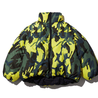 『Motivestreet』   チェックカモリバーシブルショートダウンジャケット (Yellow)