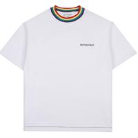 『Motivestreet』 レインボーネックポイントTシャツ  (White)