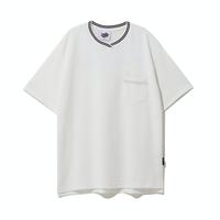 『Motivestreet』 ストライプネックポイント半袖Tシャツ (White)