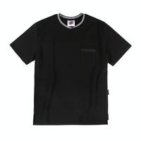 『Motivestreet』 ストライプネックポイント半袖Tシャツ (Black)