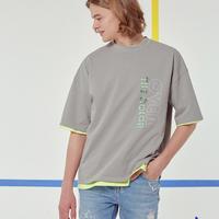 『Motivestreet』 デーリーエンボポイントオーバーサイズ Tシャツ (Gray)