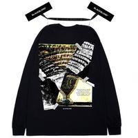 『BLACKBLOND』  クラッシュドエラロングスリーブ Tシャツ (Black)