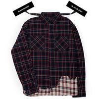 『BLACKBLOND』レイヤードチェックシャツ (Navy)
