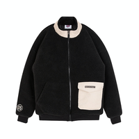 Motivestreet CORDUROY POCKET FLEECE JACKET (Black)