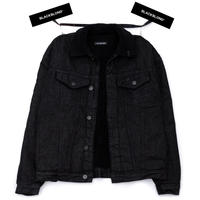 『BLACKBLOND』   Shearling Collar Graffiti Logo Denim Jacket (Black)