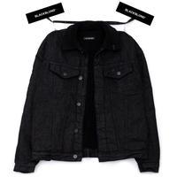 『BLACKBLOND』   Shearling Collar Graffiti Logo Denim Jacket (Black)