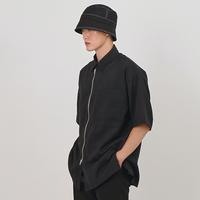 『 BY:L 』    ミニマルオーバージッパーシャツ (Black)