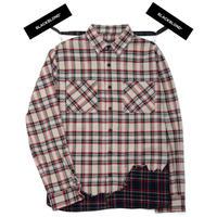 『BLACKBLOND』レイヤードチェックシャツ (Beige)