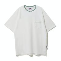 『Motivestreet』 ストライプネックポイント半袖Tシャツ (Green)