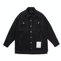 『 BY.L 』  ホワイトステッチシャツジャケット (Black)