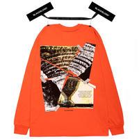 『BLACKBLOND』  クラッシュドエラロングスリーブ Tシャツ (Orange)