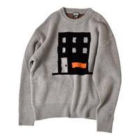 【10/22から配送】『FREAKISH BUILDING』 TANO KNIT SWEATER (Grey)