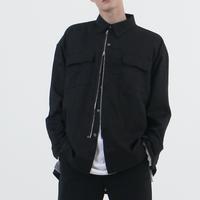 『 BY.L 』  オーバーサイズジッパーシャツジャケット (Black)