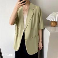 #Short Sleeve  Tailored Jacket ダブルボタン 半袖 テーラード ジャケット 全3色