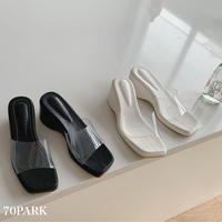 #Clear Wedge Sole Sandals クロコ型押し クリア ウェッジソール サンダル 全2色