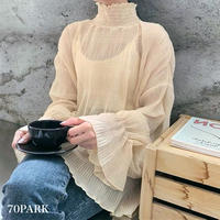 #See-through High Neck Top シースルー ハイネック ギャザー トップス 全2色