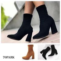 #Ankle Sock Boots  スエード調 ストレッチ アンクル ブーツ 全2色 ソックスブーツ