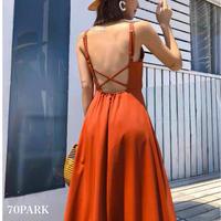 #Cross Back  Cami Long Dress  バッククロス ロング フレア キャミ ワンピース 全2色